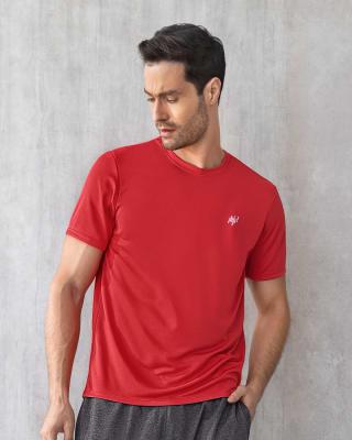 camiseta deportiva masculina semiajustada de secado rapido-218- Rojo-MainImage