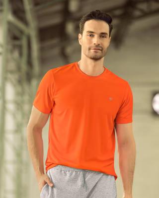 camiseta deportiva masculina semiajustada de secado rapido-260- Naranja-MainImage