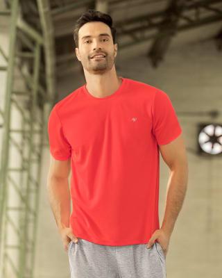 camiseta deportiva masculina semiajustada de secado rapido-273- Naranja-MainImage
