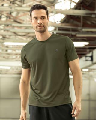 camiseta deportiva masculina semiajustada de secado rapido-695- Verde-MainImage