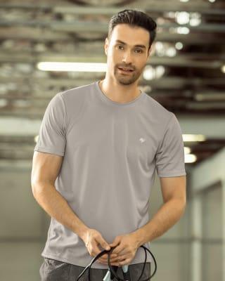 camiseta deportiva masculina semiajustada de secado rapido-750- Gris Claro-MainImage