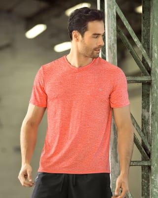 camiseta deportiva masculina semiajustada de secado rapido y tela transpirable-203- Naranja-MainImage