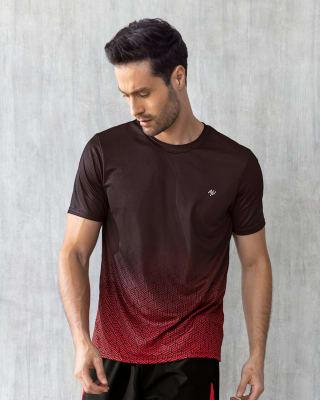 camiseta deportiva manga corta de secado rapido estampada-356- Rojo-MainImage