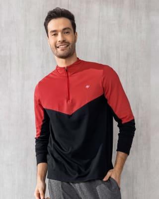 buzo ultraliviano deportivo con cuello alto-356- Rojo/Negro-MainImage