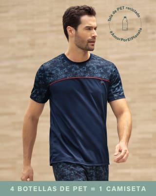 camiseta deportiva elaborada con botellas de pet reciclado-457- Azul Estampado-MainImage