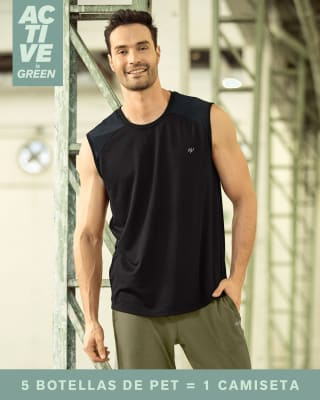 camiseta manga sisa deportiva para hombre elaborada con pet reciclado-700- Negro-MainImage