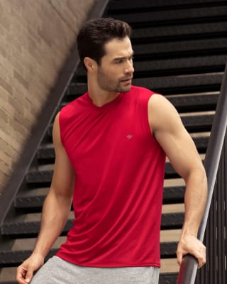 camiseta manga sisa deportiva y de secado rapido para hombre-340- Rojo-MainImage