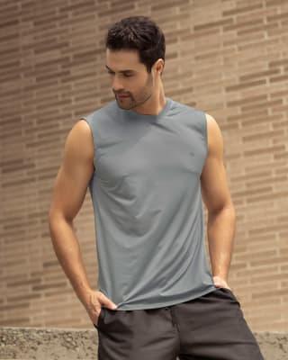 camiseta manga sisa deportiva y de secado rapido para hombre-737- Gris Claro-MainImage