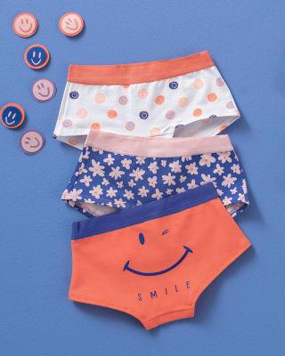 pack x 3 calzones tipo pantaleta en algodon suave para nina-S37- Fondo Blanco / Fondo Azul / Naranja-MainImage