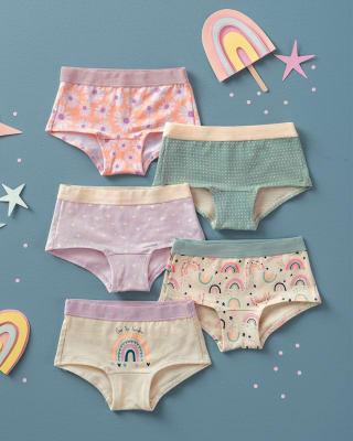 paquete x 5 panties tipo hipster en algodon suave para nina-S17- Flores/Arco Iris/Rayas/ Lila/Blanco Est-MainImage