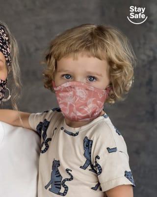 tapabocas infantil hermetico proteccion triple capa tecnologia antifluido y antibacterial - unisex-354- Rosa Floral-MainImage