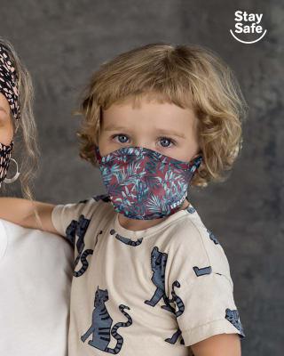 mascarilla infantil proteccion coronavirus con triple capa-437- Estampado Hojas-ImagenPrincipal