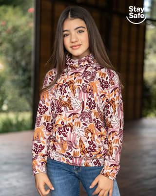 buzo infantil de cuello alto con tapabocas fijo ajustable-348- Estampado Flores-MainImage