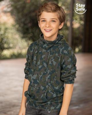 buzo infantil de cuello alto con tapabocas fijo ajustable-699- Camuflado Verde-MainImage