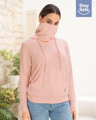 buzo femenino de cuello alto con tapabocas ajustable con acabado antifluidos-306- Rosado-MainImage