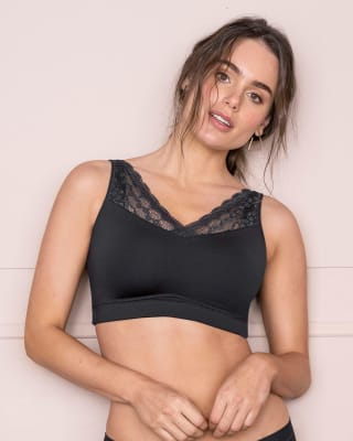 pocketed lace trim wireless bra-700- Negro-MainImage