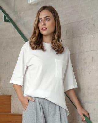 camiseta manga corta de pijama con cuello en rib - accent-000- White-MainImage