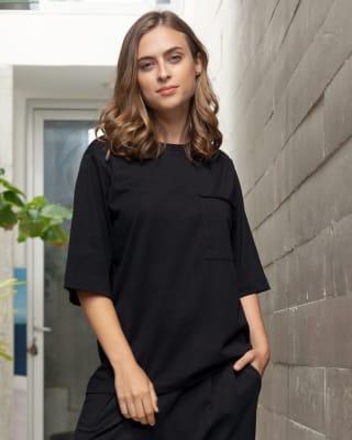 camiseta manga corta de pijama con cuello en rib - accent-700- Black-MainImage