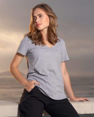 camiseta femenina de pijama manga corta con bolsillo decorativo - accent-717- Gris Jaspe-MainImage