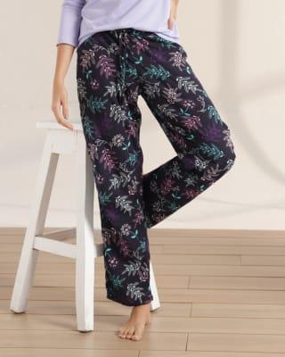 pantalon largo silueta semiajustada de pijama para mujer - bronzini-077- Flor Azul-MainImage