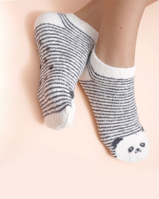 calcetin de mujer tipo calceta textura afelpada-849- Beige-MainImage