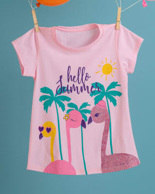 camiseta para nina estampado con brillo cuello redondo-310- Rosado-MainImage