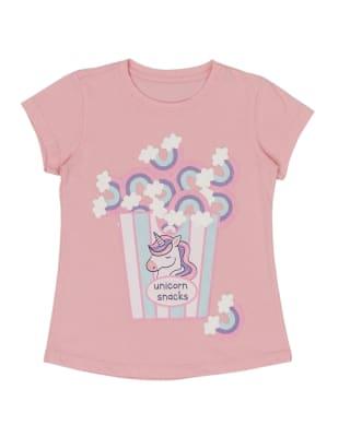 camiseta con estampado con glitter y relieve para nina-774- Rosado Est-MainImage