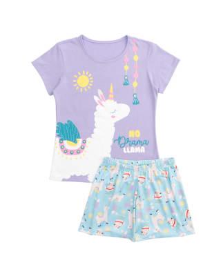 conjunto de pijama para nina con estampado con brillo tornasol-814- Lila Estampado-MainImage