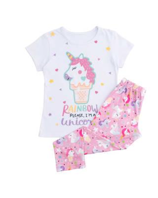 conjunto de pijama camiseta y pantalon para nina con estampado con brillo-031- Blanco Estampado-MainImage