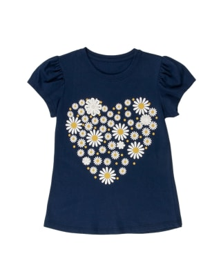 camiseta manga corta corazon con estampado localizado para nina-059- Azul Oscuro-MainImage
