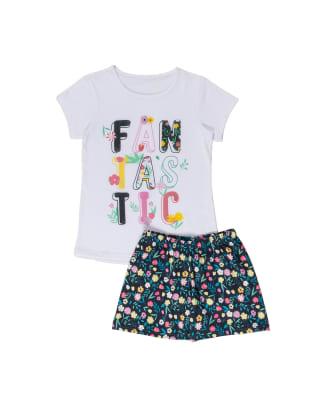 pijama nina camiseta en algodon y short en tela tacto durazno-838- Azul Oscuro-MainImage