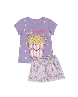 pijama nina camiseta en algodon y short en tacto durazno-044- Lila Estampado-MainImage