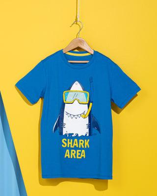 camiseta para nino con estampado de tiburon-509- Blue-MainImage