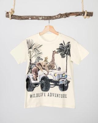 camiseta para nino - estampado animales salvajes en algodon-851- Marfil-MainImage