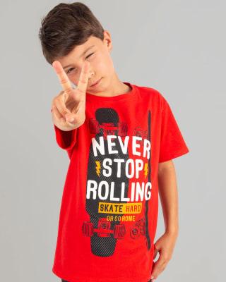 camiseta manga corta estampado con relieve nino-259- Fondo Rojo-MainImage