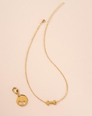collar con dije en forma de hueso para ti y un dije para tu mascota-127- Dorado-MainImage