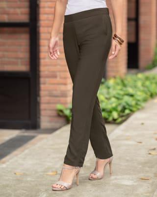 pantalon largo silueta semiajustada con pretina en resorte-601- Verde-MainImage