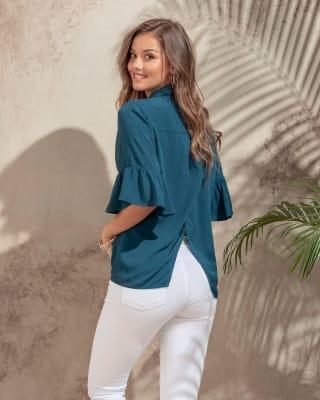 blusa manga 34 con espalda cruzada-541- Azul Petroleo-MainImage