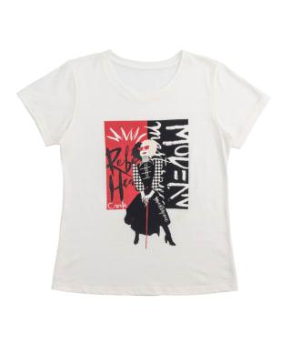 camiseta teen manga corta con estampado de cruella de vil con brillo--MainImage