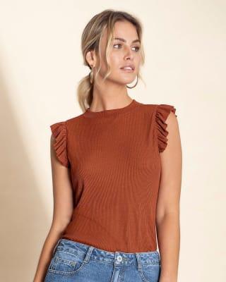 camiseta sin mangas con boleros y tela acanalada silueta semiajustada-203- Naranja-MainImage