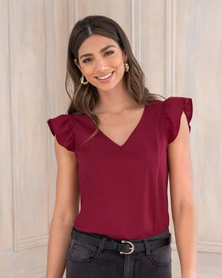 blusa manga corta cuello en v con boleros en hombros-349- Vino-MainImage