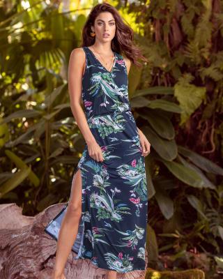 vestido en viscosa de manga sisa-077- Estampado-MainImage