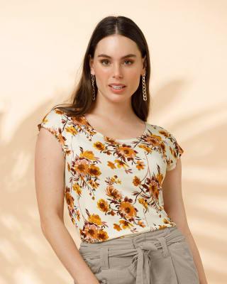 camiseta manga corta estampada silueta semiajustada para mujer-038- Blanco Est Amarillo-MainImage