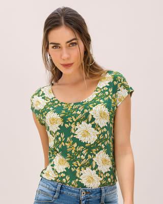 camiseta manga corta estampada silueta semiajustada para mujer-060- Est.verde-MainImage