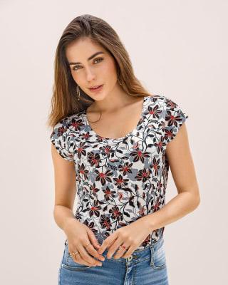 camiseta manga corta estampada silueta semiajustada para mujer-165- Est.flor Negro-MainImage