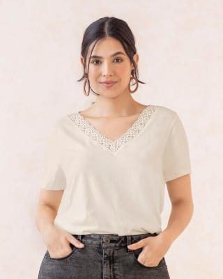 camiseta manga corta con detalle en cuello en v-849- Beige-MainImage