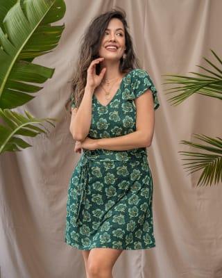 vestido corto cuello en v con boleros en mangas-145- Verde Est-MainImage