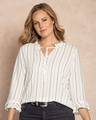 blusa manga 34 tira para anudar en escote tejido plano-077- Estampado-MainImage