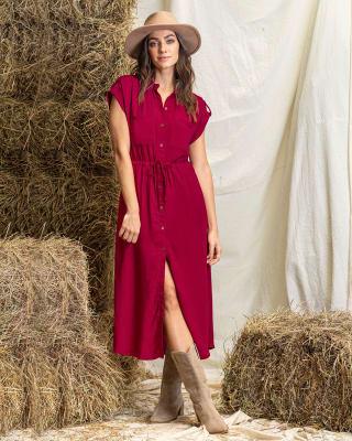 vestido largo con aberturas laterales y tira para amarrar en cintura-309- Rojo-MainImage