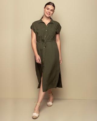 vestido anudable en la cintura-601- Green-MainImage
